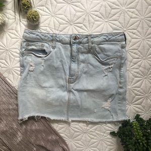 F21 Jean Denim Distressed Skirt